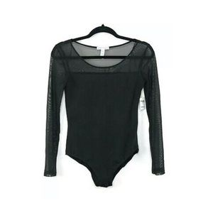 Black Bodysuit Long Sleeve Size M New With Tag